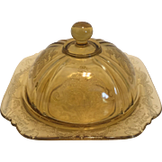 Federal Glass Recollections Amber Madrid Butter Dish
