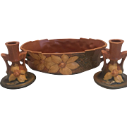 Roseville pottery Clematis Console set