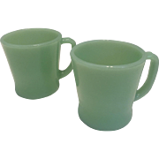Super pair of D handled Fire King Jadeite Coffee mugs