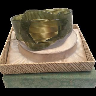 Fun Green Lucite Buckle Bracelet in Original box