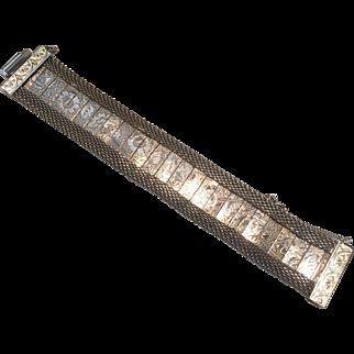 Silver Mesh Hobe Floral Bracelet