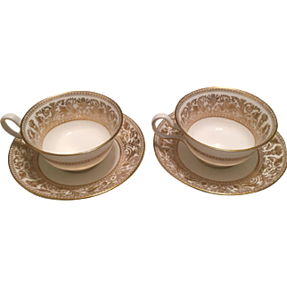 Pair of Wedgwood Gold Florentine Cups and Saucers
