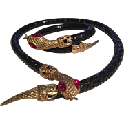 Fabulous Whiting Davis black mesh Snake necklace and bracelet set