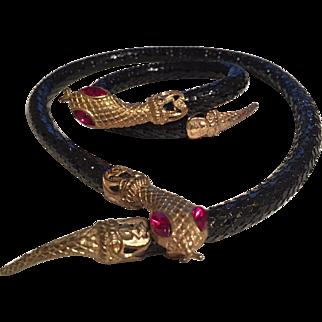 Fabulous Whiting Davis black mesh Snake necklace and bracelet set