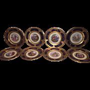 Set of 8 Exquisite Cobalt Limoges Cabinet Plates