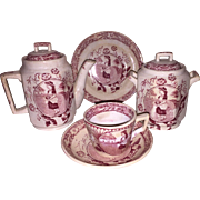 Childs Red Transferware Staffordshire Tea Set By Allerton & Sons