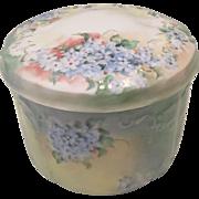 Elegant Hand Painted Limoges Dresser Jar with dainty blue Forget Me Knots
