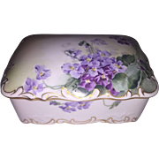 Limoges Hand Painted Dresser Box with Violets