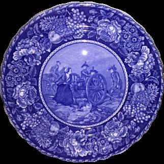 Dark Blue Transfer Ware plate of the Battle of Monmoth Staffordshire England