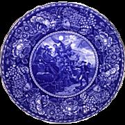 Dark Blue Transfer Ware plate Commodore Paul Jones R & M Co Staffordshire England