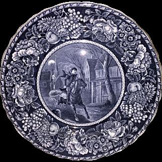 Black Transferware Historical Plate Ride of Paul Revere R & M Co Staffordshire England