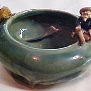 "Footed Pottery  ""Lucky Bamboo"" Planter with Asian Fisherman and Frog, circa 1945-55"