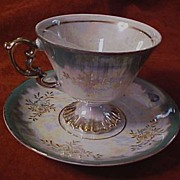 """Exquisite Green Lusterware Footed Cup and Saucer, Red Stamped """"Made in Japan"""""""