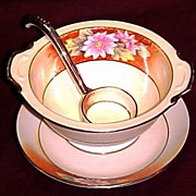Noritake Hand Painted Three Piece Mayonnaise Set, Floral Pattern, circa 1918 - Red Tag Sale Item