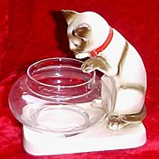 Vintage Pottery Peering Siamese with Fish Bowl Figurine, Unmarked, circa 1950s