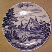 """Blue Transferware 9 1/4"""" Plate, Marked """"Japan"""" only"""
