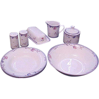 Accessory Serving Set (Compliment) Blue Lattice Design by Oneida, 8 Pieces plus Bonus FREE Butter Dish, Discontinued Pattern