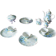 Lefton Bone China Complete Tea/Luncheon Set, Blue Floral Pattern (SL 4179)