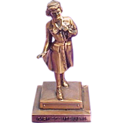Copper Girl Scout Award Statue, Uninscribed, Dangerfield Design, circa 1960