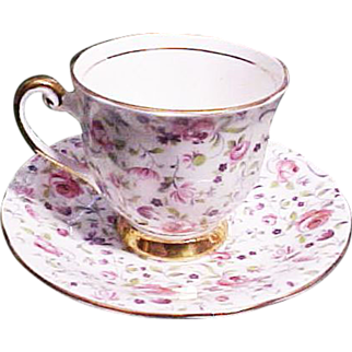 Windsor China Rose Chintz Cup and Saucer, circa 1945
