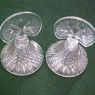 Pair Pressed Glass Perfume Bottles with Fan Stoppers, circa 1948