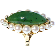 Vintage 14K Yellow Gold Spinach Jade Akoya Pearl LARGE Cocktail Ring sz8