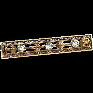 Edwardian Neo Classical 14k Gold c1910-20 Aquamarine Brooch