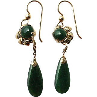 Art Deco Gold Vermeil Spinach Green Chinese Jade Drop Earrings - later Pierced Conversion