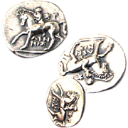 Vintage Art Deco Sterling Silver Half Shekel Calabria Tarentum Horse & Laurel Wreath Coin Cufflinks