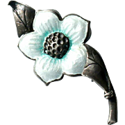 Vintage Late Art Deco Sterling Silver Enamel Dogwood Flower Brooch Pin c1940-50
