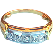 Art Deco 14k Yellow Gold Platinum Diamond Ring in Original Celluloid Box sz5