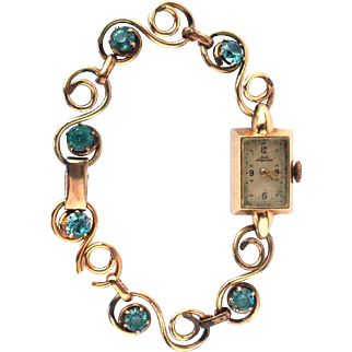 Vintage Art Deco Danish Ladie's 14k Yellow Gold Jules Jurgensen Swiss Watch w/ Deco GF Blue Zircon Jewel Bracelet