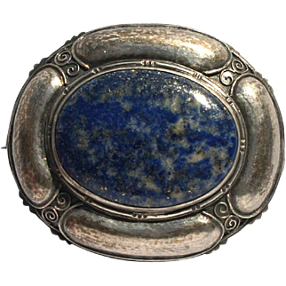Arts and Crafts 800 Silver Lapis Lazuli Jugenstil Art Nouveau Brooch c1900