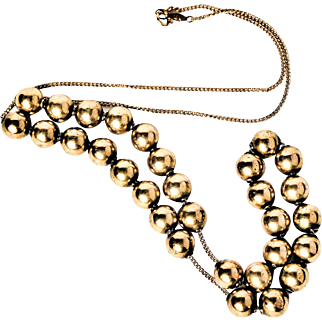 Victorian Antique 10-14k Yellow Gold Beads - strung on newer 14k Yellow Gold Chain Necklace 11.8g