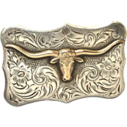 Vintage Youth Girl Boy Sterling Silver Gold Texas Longhorn Diablo Western Belt Buckle