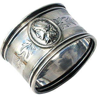 Early 1800s Antique American Coin Silver Medallion Napkin Ring