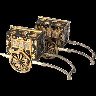 Vintage Japanese Novelty Sterling Silver Gold Plated Niello Rickshaw Salt & Pepper