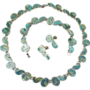 Vintage Taxco Mexico Sterling Silver Azur Malachite Necklace Bracelet Earrings Set Signed BETO