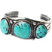 Vintage Mid Century Signed Navajo Turquoise Sterling Silver Cuff Bracelet 'BYE'
