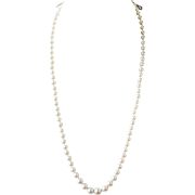 "Art Deco 20"" Graduated Cultured Pearl Necklace 4-8mm Platinum and Diamond Clasp"