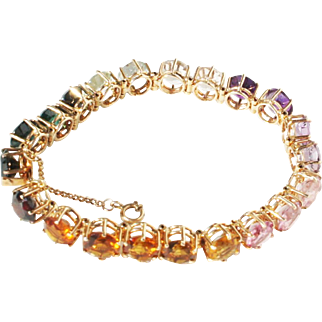 Estate 14k Gold Brazilian 1ct ea Line Tennis Bracelet Tourmaline, Beryl, Amethyst, Topaz, Garnet, Morganite etc...