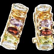 Estate 14k Gold Multi Gemstone Line Pierced Earrings Amethyst Peridot Garnet