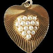 Vintage 14k Large Gold Dankner Style Heart Pendant Charm