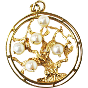Vintage Estate Lg 14k Gold Tree of Life Pendant Charm Dankner style un signed