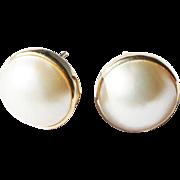 Estate 14k Yellow Gold Bezel Set 12.5mm Mabe Pearl Post Pierced Earrings