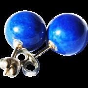 Vintage 14k Yellow Gold 10mm Lapis Lazuli Sphere Stud Post Earrings