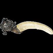 Art Deco Sterling Silver Black Starr Frost Carved Boar Tusk Table Cigar Lighter Elephant Champagne