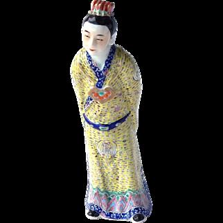 Antique Chinese Famille Rose Enamel Porcelain Imperial Civil Servant Figure 19thc