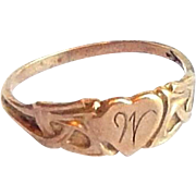 Tiny Art Nouveau 10k Yellow Gold Celtic Knot Heart Baby Ring Band - size 1.25 Engraved: W