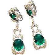 Vintage Signed Designer Polcini Emerald Rhinestone Rhodium Plate Clip Back Pendant Earrings